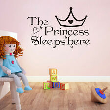NEW The Princess Sleeps Here - Wall Sticker Say Quote Word Lettering Home Decor