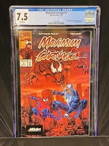 🔥Maximum Carnage 1 Acclaim - CGC 7.5 HOT! WHITE PAGES SUPER RARE 🔥 CHECK OUT