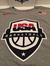 NIKE MEN'S USA OLYMPIC BASKETBALL TEAM ROSTER SHIRT GREY RED BLUE GOLD sz XL