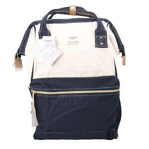 Blue / White Anello Japan Unisex Fashion Backpack Rucksack Diaper Travel Bag