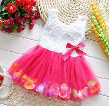 Toddler Infant Baby Girls Princess Pageant Rose Skirt Tutu Flower Dress 0-6M