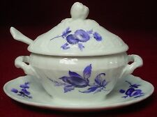 GINORI china SAVONA pattern OVAL MUSTARD with Lid, Attached Underplate, & SPOON