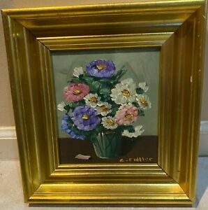 FLOWERS OIL ON BOARD SIGNED C. RIDLLER ? GOLD TONE WOOD FRAME