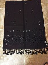 Dark Brown Pashmina and Silk Sparkling Studded Wrap Scarf, Shawl, Table Cover, T