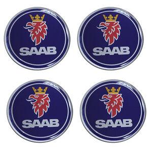 Saab Blue Self Adhesive Set of 4 Gel Wheel Centres Choice of Sizes