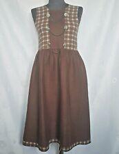 VINTAGE OKTOBERFEST DIRNDL TYROL PLAID BROWN LINEN GIRL'S DRESS-SIZE:US12/EU140