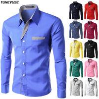 Fashion Mens Casual Slim Fit Shirt Long Sleeve Dress Shirts Tops New