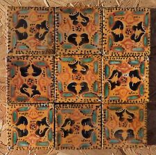 """20~MEXICAN TALAVERA POTTERY 2"""" clay hand made painted Geometric Traditional TILE"""