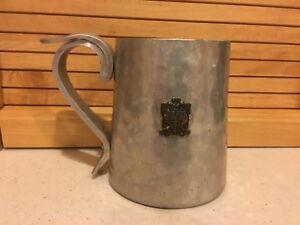"Vintage Hammered Aluminum Buenilum 4 3/4"" Tall Mug/Stein With Crest '53 W.E.Rich"
