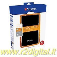"HARD DISK STORE'N'GO VERBATIM 1000 Gb USB 3.0 ESTERNO 2,5"" 1 TB ALTA VELOCITA HD"