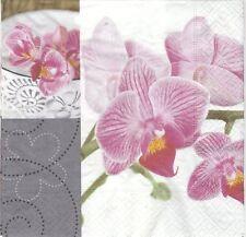 2 Serviettes en papier Fleur orchidée Paper Napkins Orchid Wellness Time