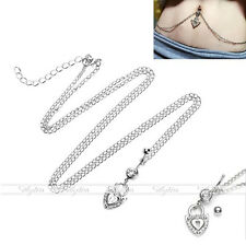 Surgical Steel Love Lock Belly Navel Button Ring With Waist Body Chain Piercing