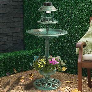 Victorian Solar Bird Feeder Feeding Station Hotel Water Bath Seed Tray & Planter