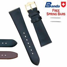 Banda Premium Grade Smooth Calfskin Fine Leather Watch Band, Sizes 12 - 24mm