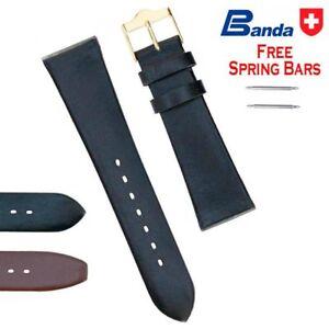 Banda Premium Grade Smooth Calfskin Fine Leather Watch Band, Sizes 12 - 24mm