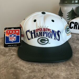 Vintage Green Bay Packers Super Bowl Champions Leather Snapback Hat New W/ Tags
