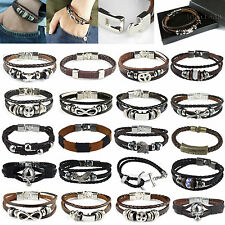 Unbranded Leather Stainless Steel Bracelets for Men