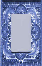 Italian Blue Tile Print - Tuscan Decor Gfi Outlet - Rocker Light Switch Plate