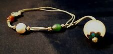Bracelet with Mineral or Glass Beads Rare Antique c1910 Edwardian Ladies Cord