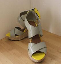 Xhilaration Tan & Yellow Espadrille Wedge Heel Sandals Shoes 9.5