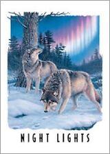 "16 3/4"" X 11 3/4"" Tin Sign Night Lights Wolves Metal Sign New"