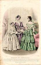 Stampa antica moda TRE DONNE in CONVERSAZIONE 1855 Old Print Fashion Engraving