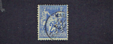 1876-8- FRANCE Classic Peace 25c Blue on Bluish Ty I  Sc#72  Used See Note