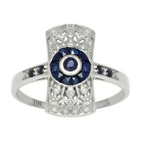 10k White Gold Antique Vintage Style Genuine Sapphire and Diamond Ring