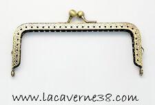 Fermoir de sac porte monnaie bronze à coudre rectangulaire 65x128x9,5 mm