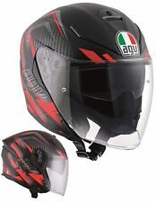CASCO HELMET MOTO INTEGRALE AGV K5 JET URBAN HUNTER BLACK RED MATT FIBRA TG L