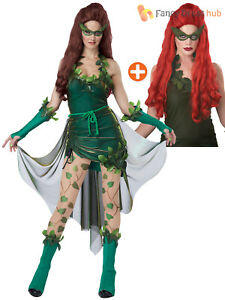 Ladies Lethal Poison Beauty Villain Ivy Costume Wig Halloween Film Fancy Dress
