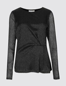 MARKS AND SPENCER SPARKLE Metallic Side Pleat Long Sleeve Top Blouse 22 BNWT