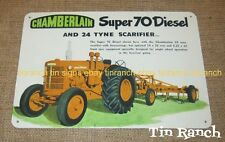 CHAMBERLAIN Super 70 diesel TRACTOR & SCARIFIER TIN SIGN Australian vintage FARM