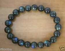 100% Genuine Natural Labradorite Gemstone Round Beads Bracelet 8mm