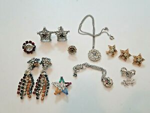 11 PIECES EASTERN STAR COSTUME JEWELRY