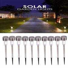 LED 10PCS Outdoor Garden Yard Solar Lights Lamp Walkway Path Landscape White js