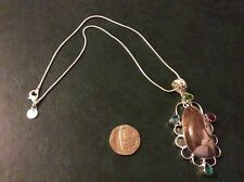 Jasper silver pendant with a 925 silver snake chain app16inch long