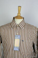 Abercrombie Para Hombre Camisa Medio Marrón a Rayas Calce Musculosa Chambray Manga Larga