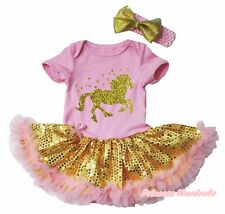 Gold Unicorn Pink Cotton Bodysuit Gold Sequins Baby Dress Outfit NB-18M