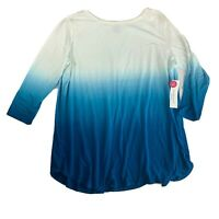 Westbound Ombre Blue White Draped Back Blouse Sweater Shirt PM