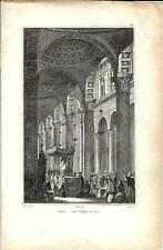 Stampa antica NAPOLI processione per San Filippo Neri 1834 Old print Engraving