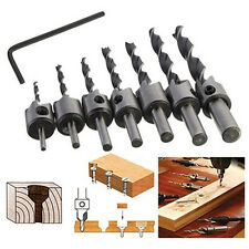 7x HSS 5 Flute Countersink Drill Bit Set Reamer Woodworking 15-degree Chamfer ~|