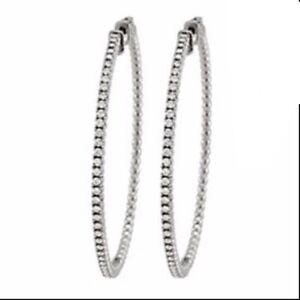 Diamond Hoop Earrings for Women in 14K White Gold Over 1.00 CT Simulated