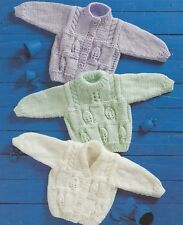 Baby Chunky Sweater and Cardigan with Cables Girls Boys Knitting Pattern 1011