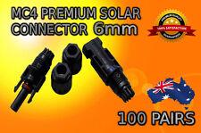 100 X Pairs MC4 Solar Panel Connectors 6mm Male Female Set TUV IP67 30A PV Solar