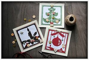 Pack of 3 Luxury Beautiful Handmade Greeting Christmas Cards with envelopes