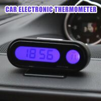 2 in 1 Clip-on LCD Digital Car Temperature Thermometer + Electronic Clock