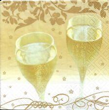 Lot de 3 Serviettes en papier Cocktail Champagne Decoupage Collage Decopatch
