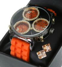 3 Times Zone Hip Hop  Iced Out Black Gun Plated TECHNO KING WATCH + Stud Earring
