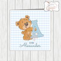 Personalised New Baby Birthday Card 1st 2nd 3rd 4th Alphabet Teddy Bear Girl Boy